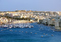A view of the yatch harbour and the new city of valletta from old malta Stock Photos