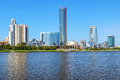 View of yekaterinburg city from the city pond russia with building government sverdlovsk oblast hotel hyatt regency iset tower Stock Photos