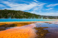 View yellowstone national park blue sky echoes purple steam Royalty Free Stock Image