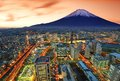 View of yokohama and mt fuji in japan Stock Photo
