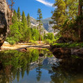 View of Yosemite National Park with reflection in the lake Royalty Free Stock Photo