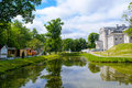View of the youth recreation park food stalls and modern house at in kaliningrad russia Stock Image