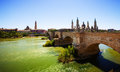 View of zaragoza stone bridge and cathedral in sunny day Stock Photography
