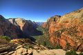 View on Zion National Park from Angel's landing point Royalty Free Stock Photo