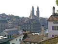 View on zurich the center of with flowing limmat river Stock Photography