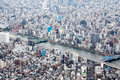 Viewed from a high angle view of the business district in japan Royalty Free Stock Photos