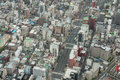 Viewed from a high angle view of the business district in japan Stock Image