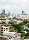 Viewed from a high angle view of the business district in thailand Royalty Free Stock Images