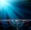 Viewers look at shining star in the cinema Royalty Free Stock Photo
