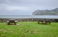 Viewpoint with benches in Mundaka Stock Photography