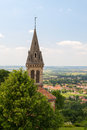 Viewpoint with church in france tower of french department isère Stock Images