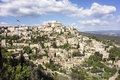 Viewpoint of gordes in luberon a showing the small town built on a hill the area provence southern france Royalty Free Stock Image