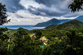 Viewpoint with Lush Tropical Rain Forest and Ocean View, Thailand Royalty Free Stock Photo