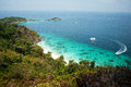 Viewpoint of similan islands famous paradise bay thailand Stock Photos