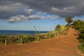 Viewpoint to the ocean at nordeste san miguel azores a red dirt path a over atlantic portugal Royalty Free Stock Photos