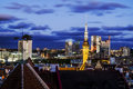 Views of the beautiful evening panorama of old Tallinn in  light Royalty Free Stock Photo