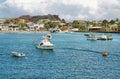 Views of boats and houses arriving at colorful puerto baquerizo moreno galapagos ecuador april in san cristobal island Royalty Free Stock Photography