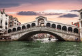 Views of the Grand canal and Rialto bridge at sunset. Venice Royalty Free Stock Photo