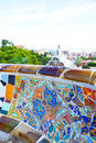 Views from the parc guell designed by antoni gaudi barcelona spain Royalty Free Stock Images