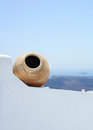 Views of santorini composition with old pot Stock Photos