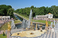 Views of the sea channel and the cascade of fountains Royalty Free Stock Photo