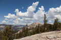 Views from sentinel dom dome towards half dome and yosemtite falls Stock Photos