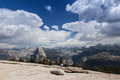 Views from sentinel dom dome towards half dome and yosemtite falls Royalty Free Stock Photography