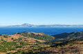 Views of the Strait of Gibraltar and the mountain Jebel Musa in Morocco from the Spanish side, provence Cadiz, Spain Royalty Free Stock Photo