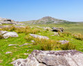 Views towards rough tor bodmin moor rugged scenery on cornwall england with in the distance Stock Photography