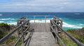 Views of the walpole inlet western australia on a cloudy day southern ocean at in autumn from wooden board walk are Stock Images