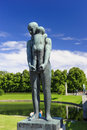 Vigeland sculpture arrangement frogner park oslo norway man holding youngster Stock Photos