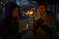Vigil for newtown shooting victims dozens of vermonters gathered at city hall park in burlington vermont a candle light held in Stock Images