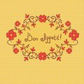 Vignette flower bon appetite vector background red Stock Image