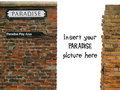 Vignette with paradise sign on old worn brick wall Stock Images