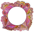 Vignette with Watercolor Indian Bright Pink Paisley