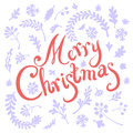 Vignette of winter leaves branches and christmas tree branches includes text merry christmas Stock Photos