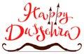 Vijaya Dashami Dussehra hindu festival. Happy Dussehra lettering text for greeting card