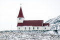 Vik iceland feb view of the church at vik iceland on feb Stock Image