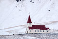 Vik iceland feb view of the church at vik iceland on feb Stock Photo