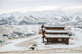 Vik iceland feb view of wooden chalets at vik iceland on Royalty Free Stock Images