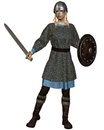 Viking or anglo saxon shield maiden with chain mail armour sword and helmet d digitally rendered illustration Stock Images