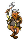 Viking in attack cartoon furious with axe vector graphic Royalty Free Stock Photos