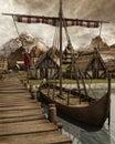 Viking boat in a village