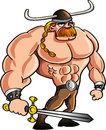 Viking cartoon with a big sword and blond hair in ponytail isolated Stock Image