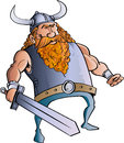Viking cartoon with a big sword isolated Stock Photos