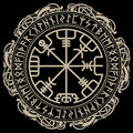 Viking design. Magical runic compass Vegvisir, in the circle of Norse runes and dragons Royalty Free Stock Photo