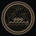 Viking Drakkar. Drakkar ship sailing on the stormy sea and mythical tree Yggdrasil