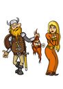 Viking falls in love with girl and give her the gift vector graphic Stock Images