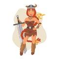 Viking Girl Holds Sword Royalty Free Stock Photo