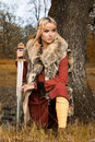 Viking girl warrior Royalty Free Stock Image